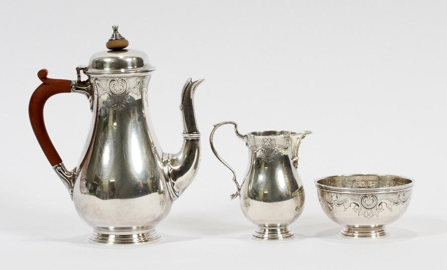 ADIE BROS. LTD. BIRMINGHAM, STERLING TEA SET