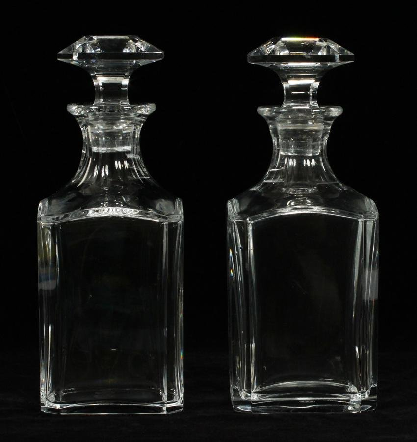 """BACCARAT CRYSTAL DECANTERS PAIR H 9.7"""""""