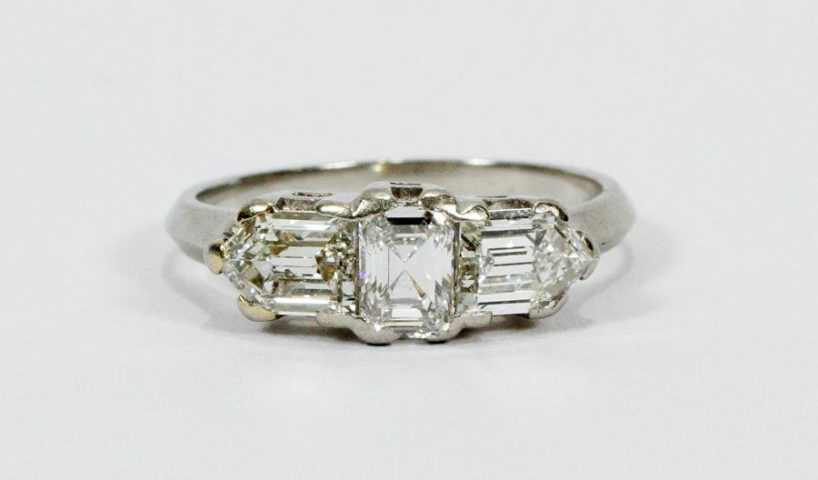 ART DECO 3 STONE DIAMOND & PLATINUM BAND RING