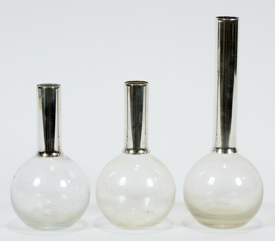 STERLING SILVER & GLASS BUD VASES, 3 PCS