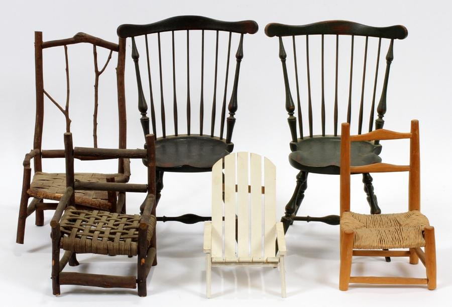 WOODEN  DOLL CHAIRS MID 20TH CENTURY 6 PCS.