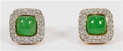 JADE & DIAMOND, WHITE & YELLOW GOLD, STUD EARRINGS