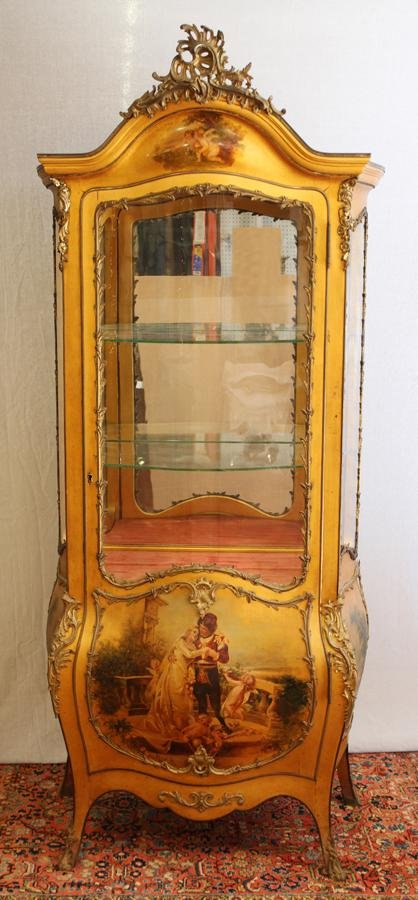 FRENCH GILT WOOD VERNI MARTIN STYLE CURIO CABINET