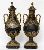 """FRENCH BRONZE & MARBLE URNS, PAIR, H 21"""", W 8 1/2"""""""