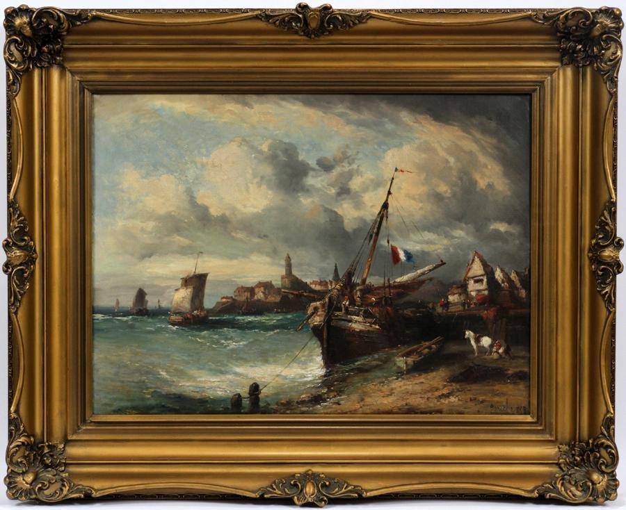 FONECHE, FRENCH OIL ON CANVAS, 1868 PORT SCENE