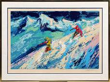 LEROY NEIMAN SERIGRAPH ON PAPER DOWNHILL SKIING