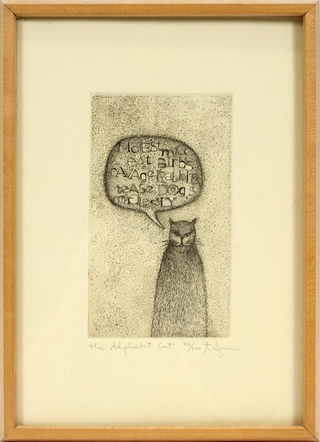 """T. SPEER ETCHING ON PAPER """"THE ALPHABET CAT"""""""