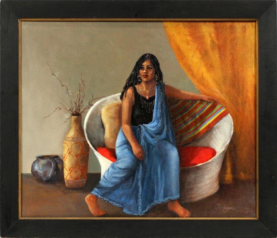F.P. LAGERS OIL ON CANVAS PORTRAIT OF WOMAN
