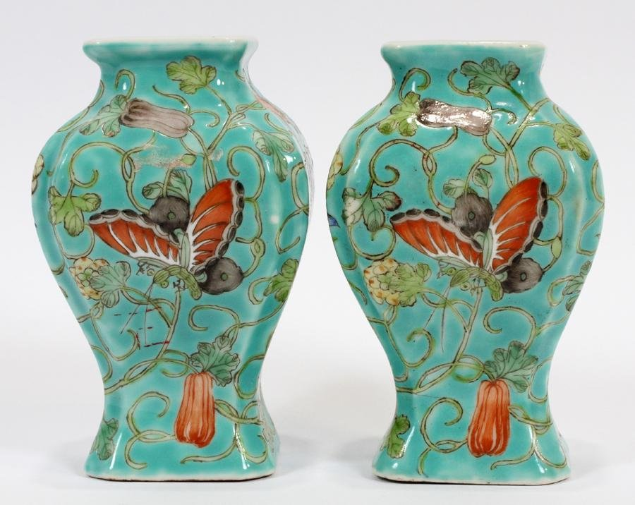 CHINESE HAND PAINTED  PORCELAIN VASES. H 4.5""