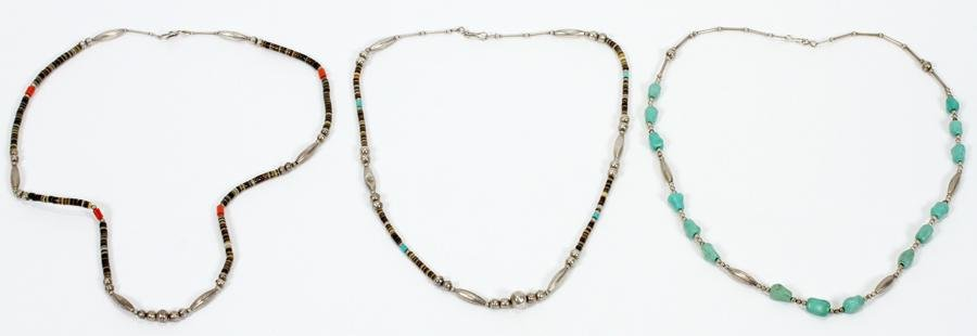TURQUOISE, SHELL, CORAL & SILVER NECKLACES