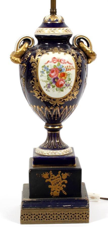 "GERMAN PORCELAIN TABLE LAMP H 13"" - 27"""