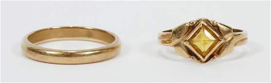 YELLOW GOLD RING & YELLOW GOLD BAND, 2 PCS