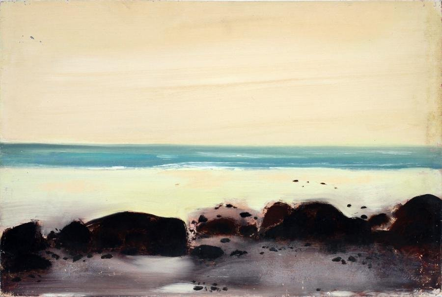 HAROLD COHN OIL ON MASONITE COASTLINE