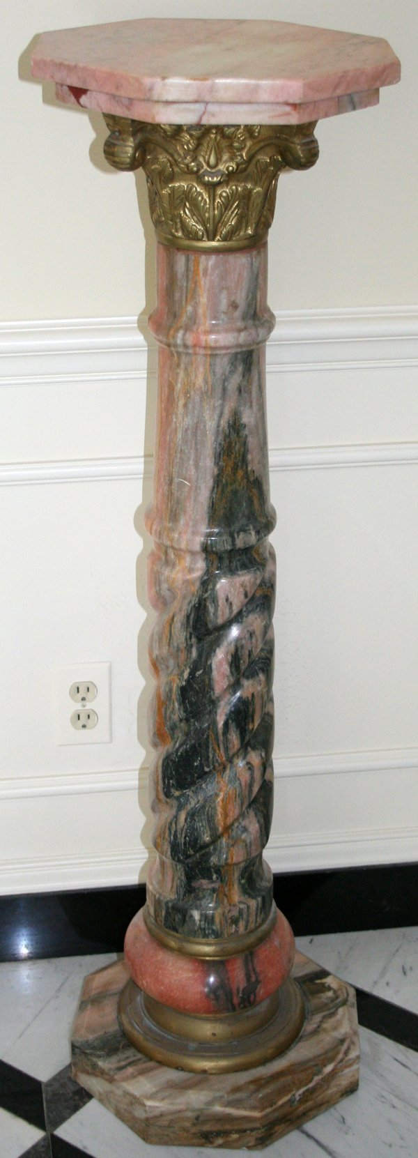 020007: PINK MARBLE AND BRONZE PEDESTAL, H 47 1/2""