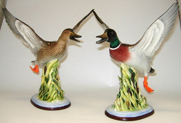 020015: BOEHM GLAZED PORCELAIN FIGURES, 'MALLARDS'