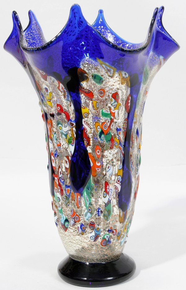 "020021: MIORI MURANO, ART GLASS VASE H 9 1/4"", DIA 6"""