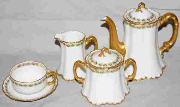 020398: HAVILAND LIMOGES PORCELAIN TEA SET 11 PCS.