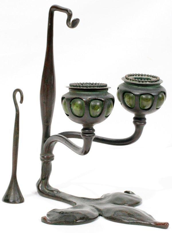 021007: TIFFANY STUDIOS BRONZE & GLASS CANDELABRUM