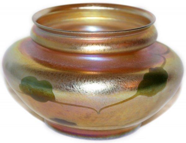 021015: L.C. TIFFANY GOLD FAVRILE GLASS VASE, #9608H