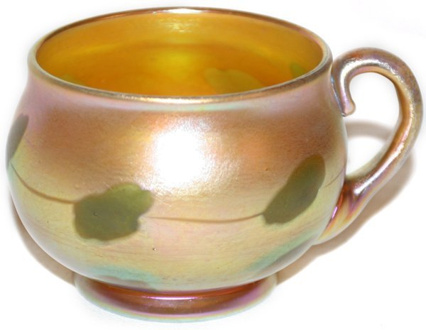 021016: L.C. TIFFANY GOLD FAVRILE GLASS PUNCH CUP