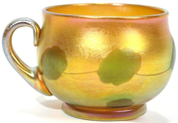 021017: L. C. TIFFANY GOLD FAVRILE GLASS PUNCH CUP