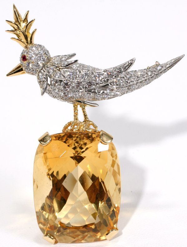021171: SCHLUMBERGER CITRINE/ DIAMOND 'BIRD ON ROCK'