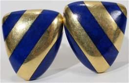 021173: 18KT YELLOW GOLD & LAPIS LAZULI EARRINGS