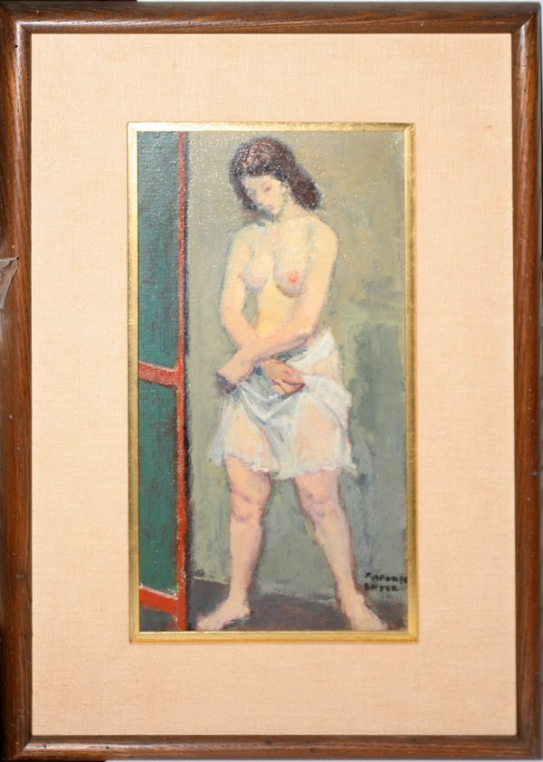 "022002: RAPHAEL SOYER OIL ON CANVAS, 16"" X 8"""