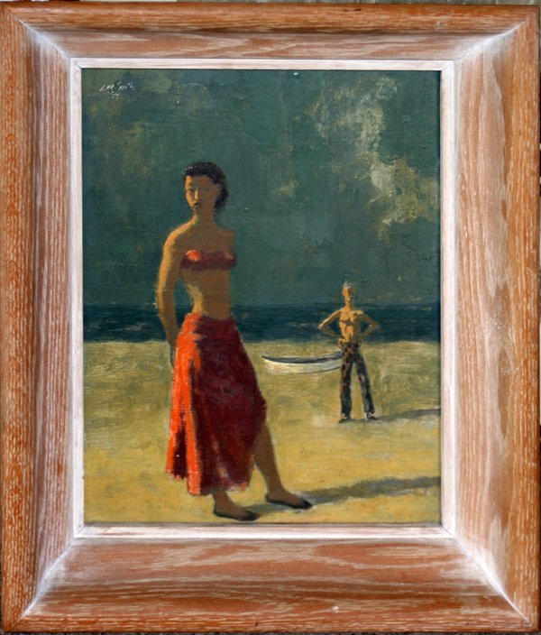 022003: HUGHIE LEE-SMITH OIL 'DANCER ON THE BEACH'