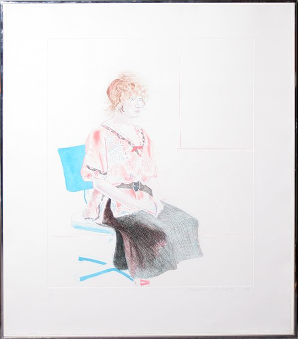 "022005: D. HOCKNEY ""CELIA SEATED IN AN OFFICE CHAIR"""