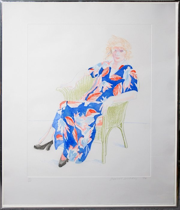 "022007: DAVID HOCKNEY ETCH ""CELIA IN A WICKER CHAIR"""