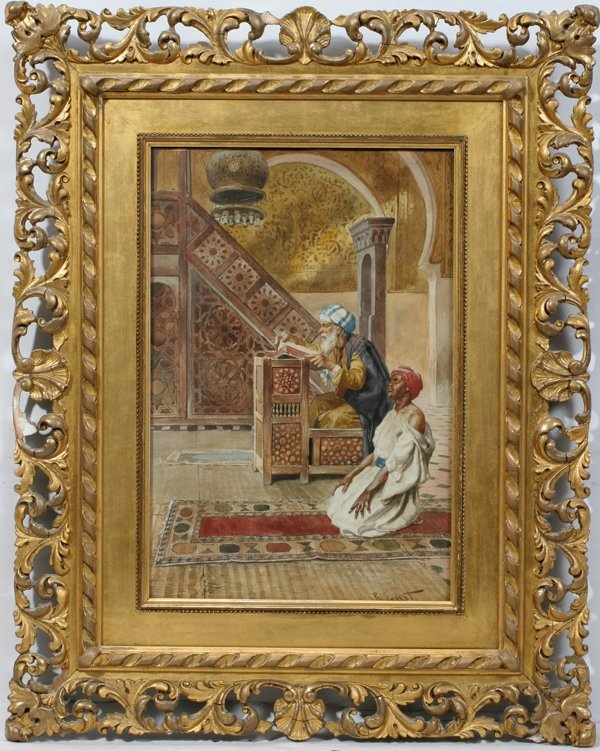 022017: RUDOLF ERNST WATERCOLOR MEN IN A MOSQUE