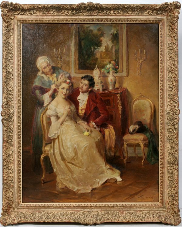 "022022: MOZART ROTTMANN OIL ""FRENCH COURTING SCENE"""