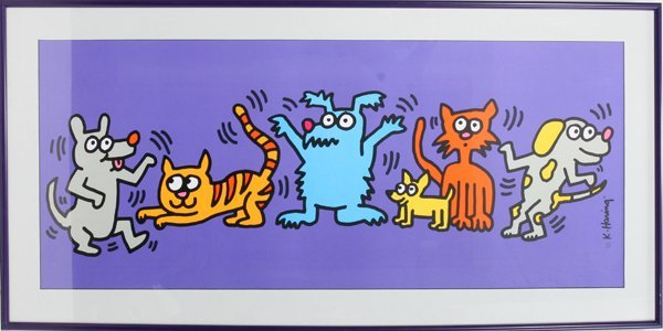 022114: COLOR LITHO KEITH HARING DOGS & CAT DANCING