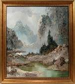 022148 WILLI BAUER OIL ON CANVAS MOUNTAIN SCENE