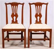 ANTIQUE CHIPPENDALE WALNUT SIDE CHAIRS 18TH C