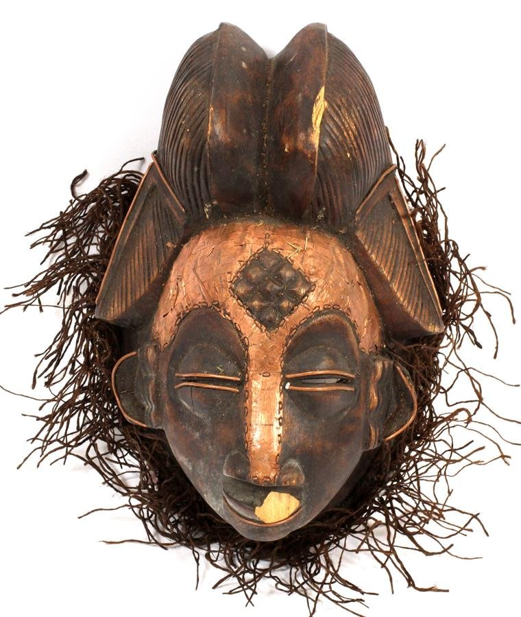 AFRICAN CARVED WOOD MASK, H 11""