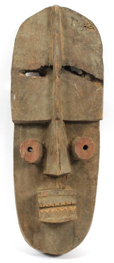 """AFRICAN CARVED WOOD MASK, H 23"""""""