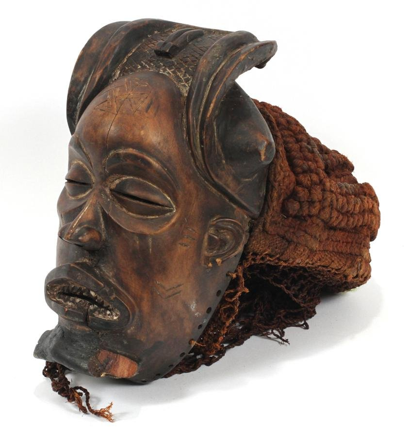 "CARVED WOOD HEADDRESS/MASK, H 10"", W 8"", D 15"""