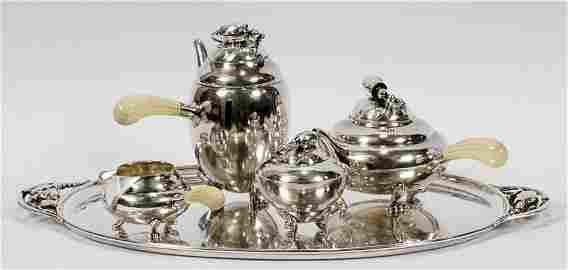 "GEORG JENSEN ""BLOSSOM"" STERLING 4 PIECE TEA SET"