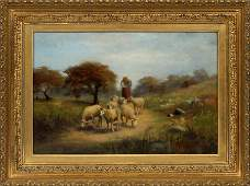 H. CARITZNER OIL ON CANVAS SHEPHERDESS