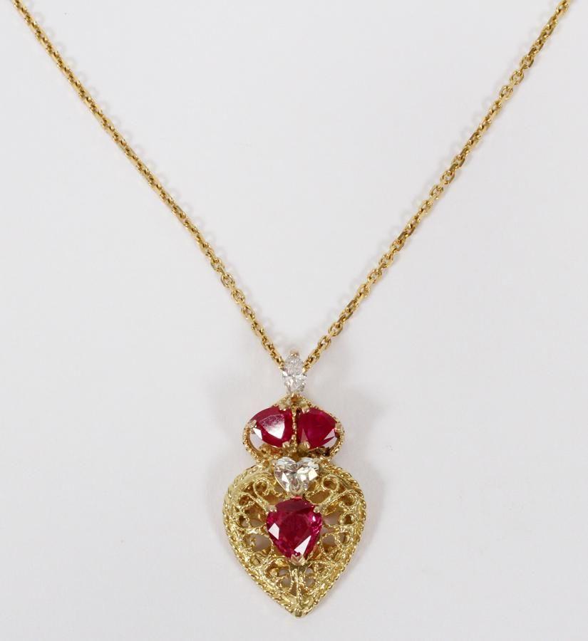 RUBY, DIAMOND, & GOLD, SHIELD FORM NECKLACE
