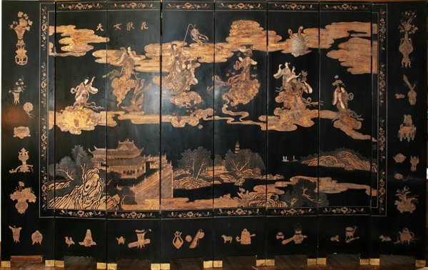 030006: JAPANESE LACQUER EIGHT-PANEL SCREEN, H 8'