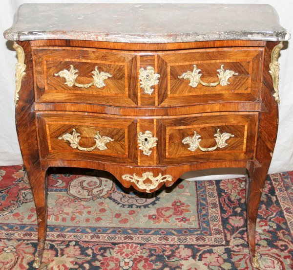 030008: LOUIS XVI MARBLE TOP MARQUETRY INLAY COMMODE