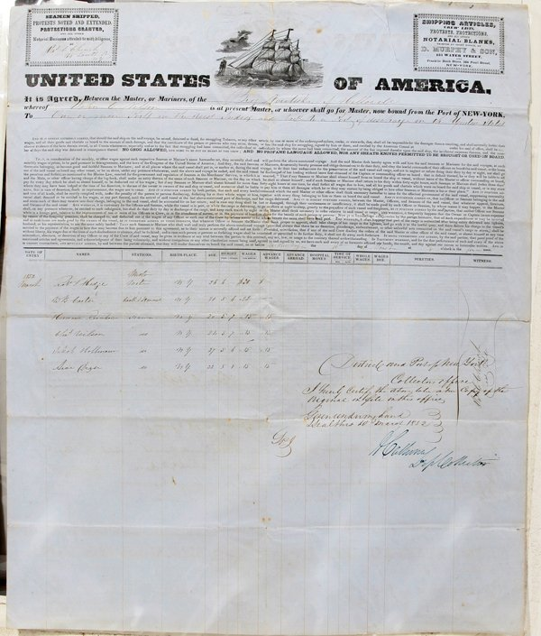 030016: AMERICAN SHIP DOCUMENT BRIG NARITISKE FROM NY