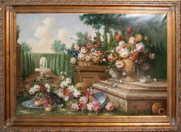 030018: R. BENNINGTON OIL STILL LIFE OF FLOWERS