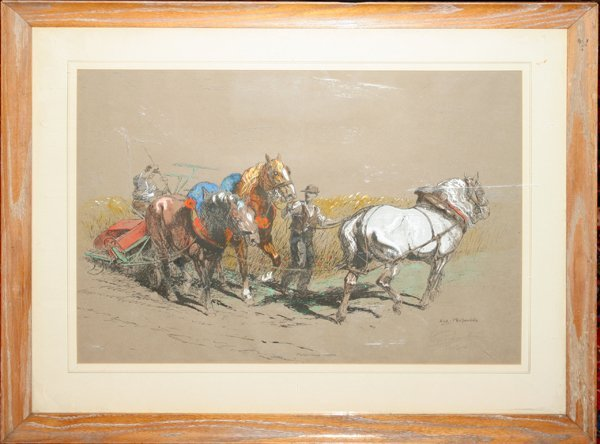 030019: EUGENE PECHAUBES PRINT FARMER MOWING FIELD