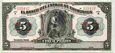030214 CHIHUAHUA MEXICAN PAPER CURRENCY FIVE PESOS