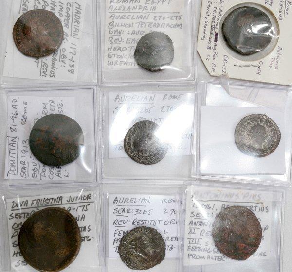 030288: EARLY ROMAN ERA COIN GROUPING, 9 PCS.