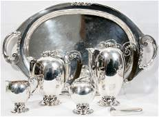 031001 DANISH STYLE STERLING SILVER TEA  COFFEE SET